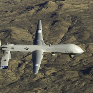 The MQ-1 Predator assigned to the 163rd Reconnaissance Wing in flight over the Southern California Logistics Airport (formerly George Air Force Base) in Victorville, Calif., Jan. 7, 2012. (U.S. Air Force Photo by Tech Sgt. Effrain Lopez, 4th Combat Camera)